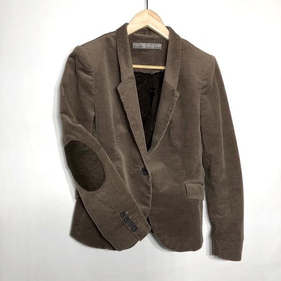 Zara women's ribbed velvet elbow patch blazer